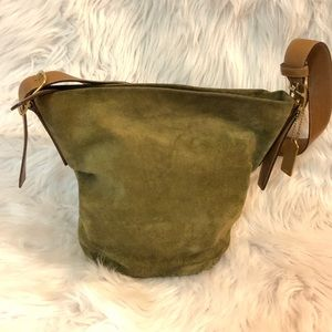 Coach Forest Green Leather Hobo Tote Bucket Bag